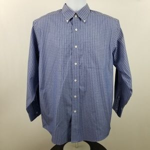 L L Bean Wrinkle Resistant Mens Blue Check Shirt
